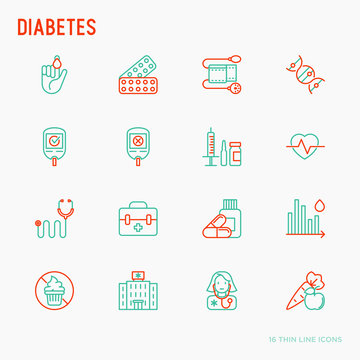 Diabetes thin line icons set of symptoms and prevention care. Vector illustration for medical survey or report.