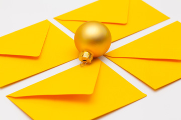 Different colored envelopes and Cristmas decoration