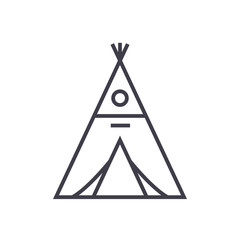 wigwam vector line icon, sign, illustration on white background, editable strokes