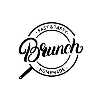 Brunch hand written lettering logo, label, emblem, sign.