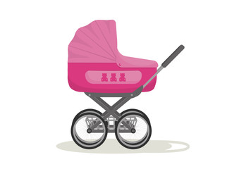 Baby carriage stroller. Pink pram on white background. Vector illustration.