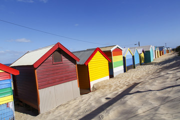 The iconic colorful beach huts on Melbourne's Brighton Beach