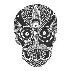 sugar skull day of the dead human head vector design illustration hand drawn
