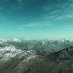 3d generated landscape: Misty mountains and the first snow