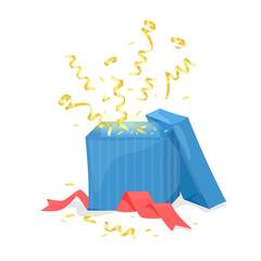 Open gift box explode gold ribbon and confetti. Vector illustration
