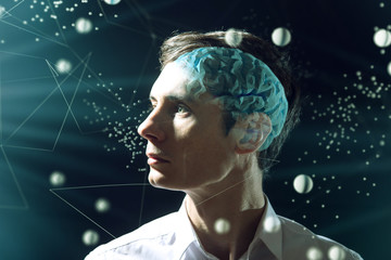 The man's head businessman with digital brain and connections of neurons. The concept of artificial...