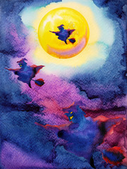 witch flying on night sky halloween yellow full moon party background watercolor painting hand drawn