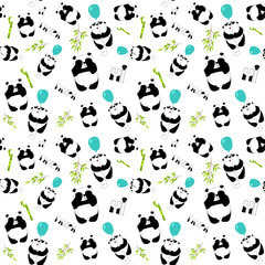 Cute pandas with baloon and bamboo on the white background. Seamless pattern.