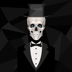 Vintage male skeleton in black suit and top hat in low poly style.