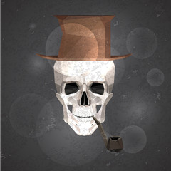 Vintage male skull with smoking pipe and top hat in low poly style.