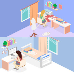 woman sews on the sewing machine. Isometric interior. Flat object.