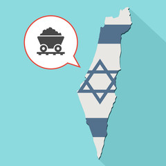 Animation of a long shadow Israel map with its flag and a comic balloon with a mining trolley