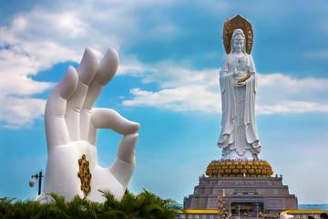 White GuanYin statue in Nanshan Buddhist Cultural Park, Sanya, Hainan Island, China.