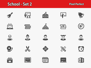 School and Education Icons. Professional, pixel perfect icons optimized for both large and small resolutions. EPS 8 format.