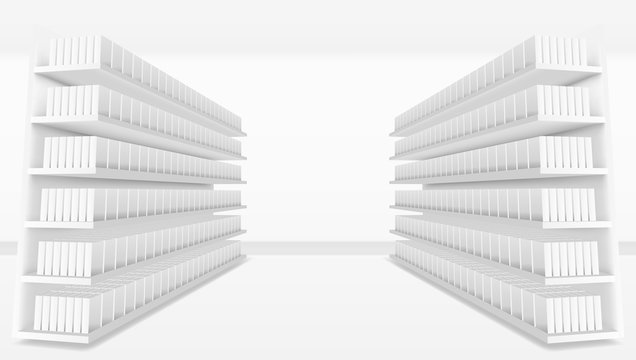 3D Supermarket Aisle With White Blank Full Shelves