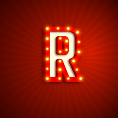 Retro style letter R with electric bulbs. Realistic 3d light sign, red background. Vector illustration.