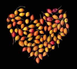 Assorted rose hips on a black background in the form of a heart