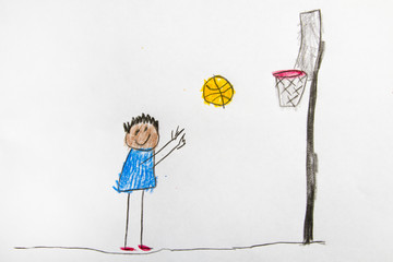 Kid Drawing: Basketball