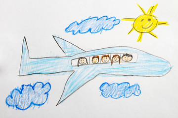 Kid Drawing: Air Plane Travel