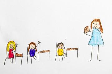 Kid Drawing: School Classroom