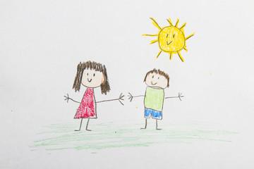 Kid drawing: Friends Outside