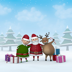 Christmas characters in a snowy winter landscape