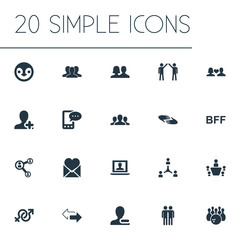 Vector Illustration Set Of Simple Friends Icons. Elements Charity, Partner, Enamored And Other Synonyms Crowd, Group And Couple.