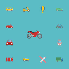 Flat Icons Transport, Jeep, Bicycle And Other Vector Elements. Set Of Auto Flat Icons Symbols Also Includes Omnibus, Van, Lorry Objects.