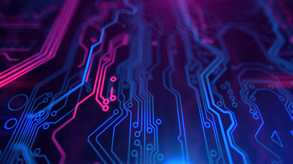 Purple, violet, blue neon background with digital integrated network technology. Printed circuit board. 3D illustration. Circuit board futuristic server code processing. PCB, Code, HTML.
