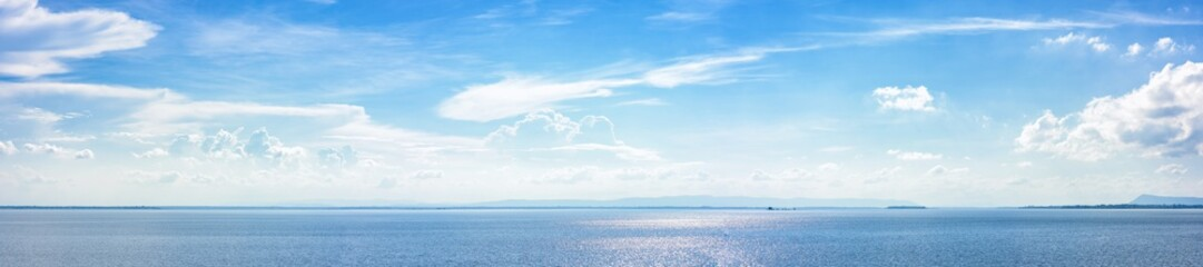 Panoramic beautiful seascape with cloud on a sunny day.