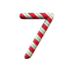 red and white stripe candy cane number 7