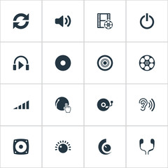 Vector Illustration Set Of Simple Music Icons. Elements Compact Disk, Volume, Cinema And Other Synonyms Scale, Subwoofer And Film.