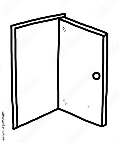 """""""open door / cartoon vector and illustration, black and ..."""