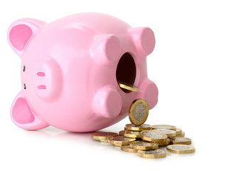 Piggy bank fallen on its side