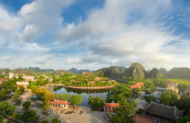 Panoramic view of Tam Coc village in Ninh Binh province, Vietnam