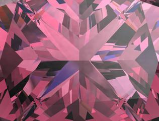 Realistic pink diamond texture close up, 3D illustration.