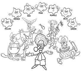 main colors coloring book with clowns