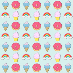 Happy Candyland. Cute pattern of ice cream, cupcakes, donuts and rainbow. All in candy colors and with a big smile.