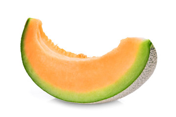 slice of japanese melons, green melon or cantaloupe melon with seeds isolated on white background