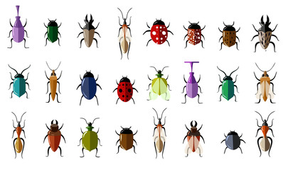 Set of insects flat style design icons. Butterfly, Colorado beetle, Dragonfly, Wasp, Grasshopper, Ant, Ladybug, Beetle, Bumblebee, Moth, Scorpio, Acarus, Fly, Caterpillar, Spider, Mosquito.
