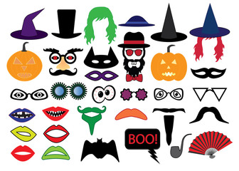 Halloween set photo booth props, vector
