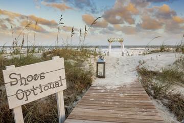 Beach wedding venue at sunset