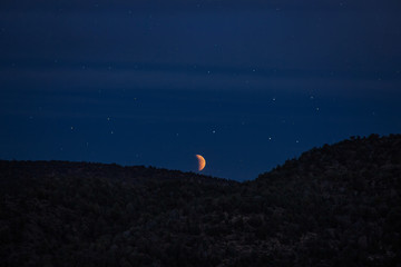 Blood Moon Rising During Eclipse