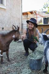 Girl feeds her goats