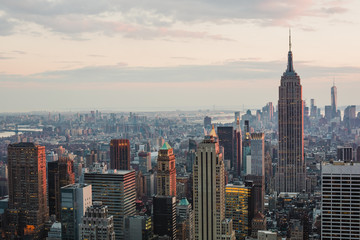 View of New York City from the Top of The Rock at sunset