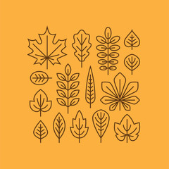 Autumn leaves line icons set.