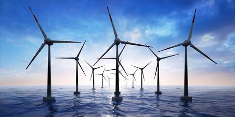 Windpark im Meer im Sonnenuntergang