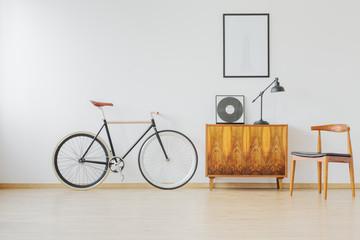 Bike and wooden retro furniture