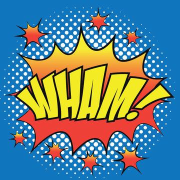Pop art comic speech bubbles with 'wham' text. vector illustration