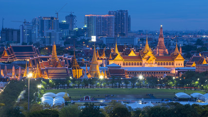 Bangkok Grand Palace view city skyline at night while King Bhumibol's body was living in as passed away.